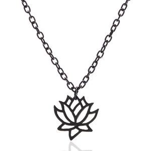 *ADALEE* Black Lotus Flower Pendant Necklace